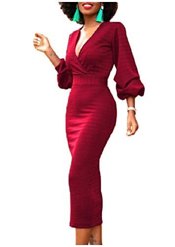 Howme-femmes Manches Bouffantes Solide Cocktail Croix De Couleur Wrap Robe Rouge