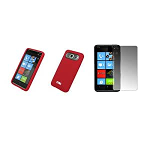 EMPIRE Red Silicone Skin Cover Case + Screen Protector for HTC HD7