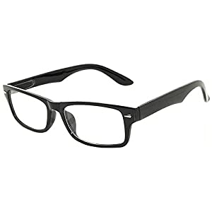 Retro Fashion Style Narrow Rectangular Black Frame Eyeglasses Clear Lens