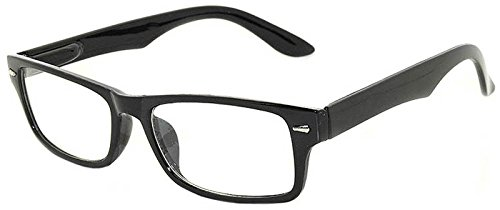 Retro Fashion Style Narrow Rectangular Black Frame Glasses Clear Lens -