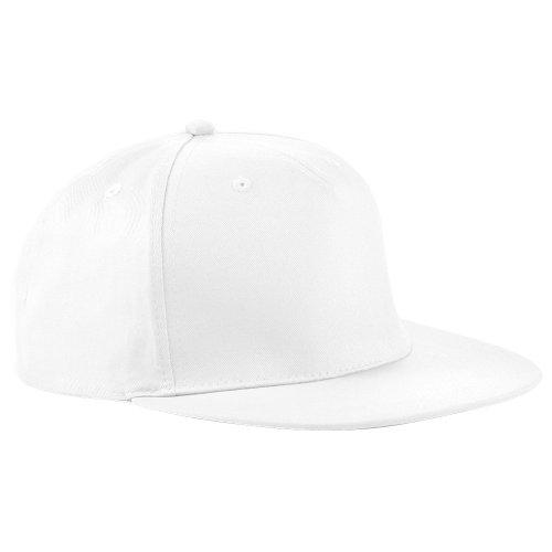 Beechfield - Gorra/Visera diseño Rapero/Rapper/Hip Hop/NBA 5 Paneles Modelo Retro White