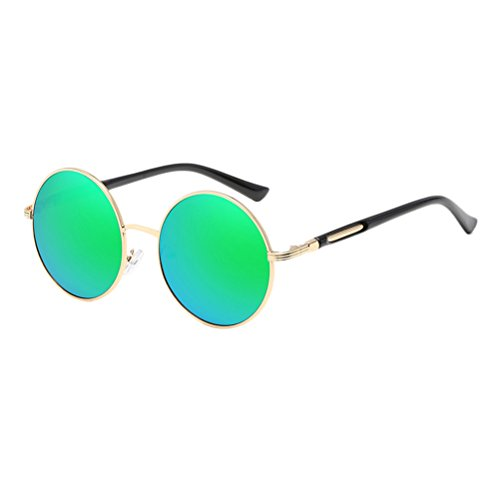 gafas Oversized for Sunglasses Unisex Fashionable Round amp;green Mens Womens de estuche Frames Mirror Zhuhaitf Polarized Con Design Gold qUCw4A