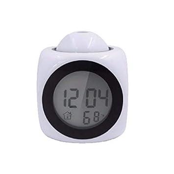 guyuell Pantalla Led De Proyección Hora Reloj Despertador Digital Indicador De Voz Que Habla Termómetro Función