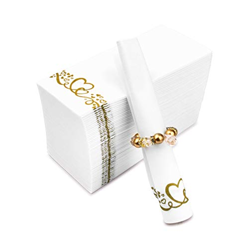 Fete Decorative Hand Towels – Gold Hearts Disposable Linen-Feel Guest Towels 100 pack – Formal Dinner, Anniversary…