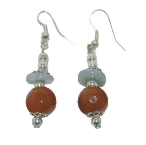 Jade Color Earrings Multi (Jade Earrings Multi Color Jade Silver Plate Accents)