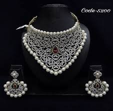 Buy Bridal Necklace Set Cz American Diamond Jewellery With Gold Plated At Amazon In