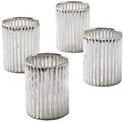 Serene Spaces Living Set of 24 Corrugated Glass Silver Votive Candle Holder