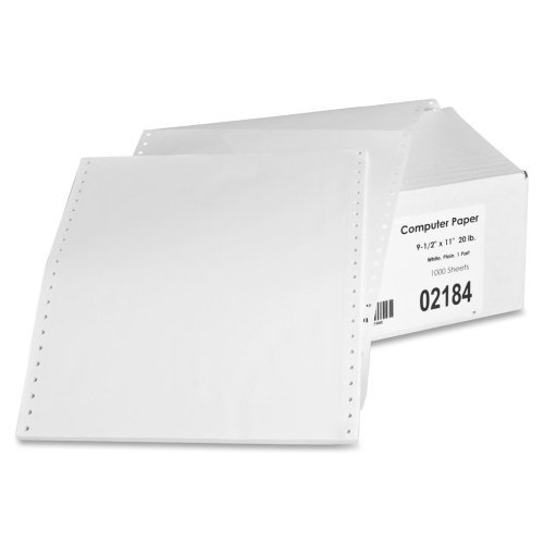 Sparco Continuous Feed Computer Paper - Letter - 8.5 x 11 - 20lb - 1000 / Carton - White by (Sparco Continuous Feed)
