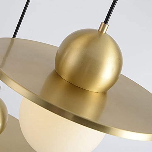 H.Y.BBYH Pendant Lamp LED Copper Glass Ceiling Lamp Yellow Warm Light Chandelier Dining Living Room Study Bedroom Chandelier
