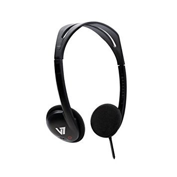 V7 HA300-2NP Stereo Headphone - Over-head design; ergonomic and adjustable headband - Compatible with all computers iPads iPod CD and MP3 players - NEW - Retail - HA300-2NP