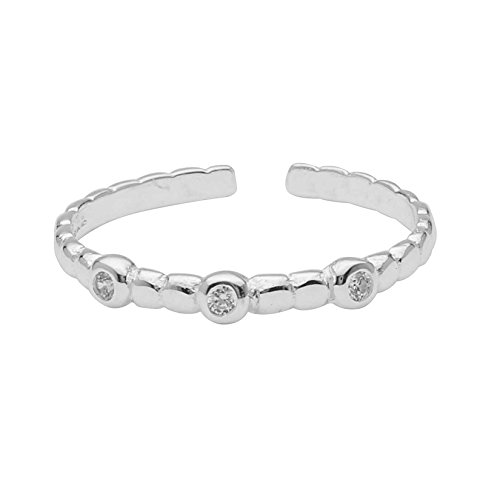 High Polished Sterling Silver Ribbed Design Toe Ring With 3 Round 1.2mm White CZ Stone Bezel Set by Kezef Creations