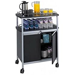 Safco Products Mobile Beverage Cart 8964BL, Black, 75 lbs. Capacity, Contemporary Design, Swivel Wheels
