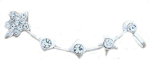 Lumanuby 1x Ear Ear Bone Clip Ear Studs Diamantes de moda de plata esterlina Pendientes Mujer Plata Con Para Regalo San Valent/ín