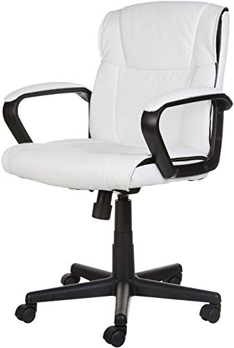 AmazonBasics Classic Leather-Padded Mid-Back Office Chair with Armrest - White by AmazonBasics (Image #5)