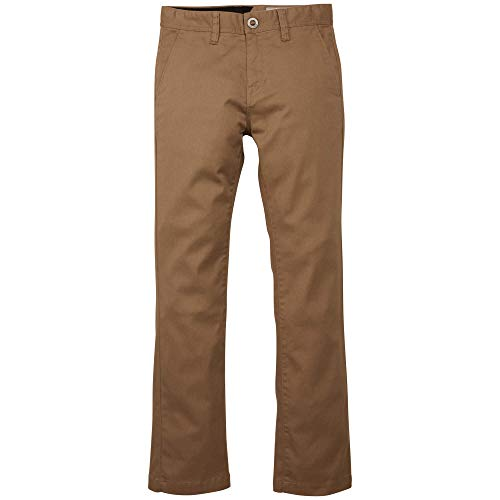Volcom Boys' Big Frickin Slim Fit Cotton Twill Chino Pant, Beige, 22