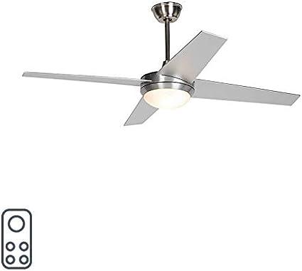QAZQA Moderno Ventilador de techo con luz y mando a distancia plateado con control remoto - Roar 52 Vidrio/Acero Redonda Adecuado para LED Max. 2 x 25 Watt