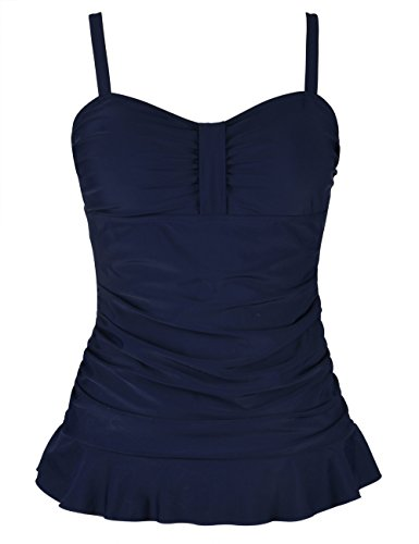 (Hilor Women's 50's Retro Ruched Tankini Swimsuit Top with Ruffle Hem Navy 10)