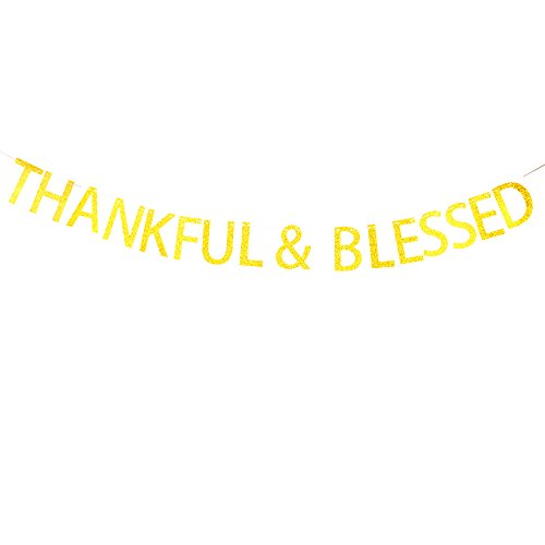 Thankful & Blessed Banner for Wedding,Bachelorette,Friendsgiving Party Décor Gold Banner Pertlife by Pertlife