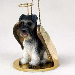 (Schnauzer Angel Dog Ornament - Uncropped - Gray)