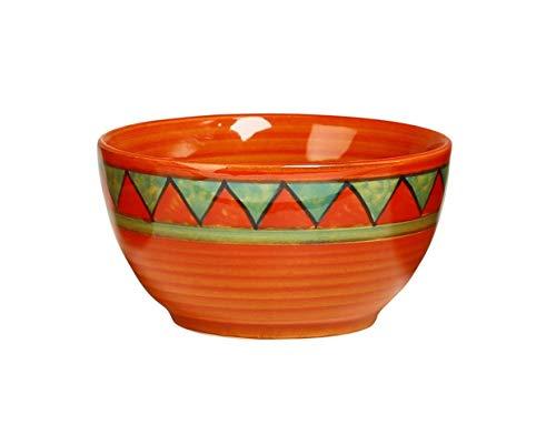 Caffeine Ceramic Handmade Orange  amp; Green Triangles katori Bowl  Set of 1