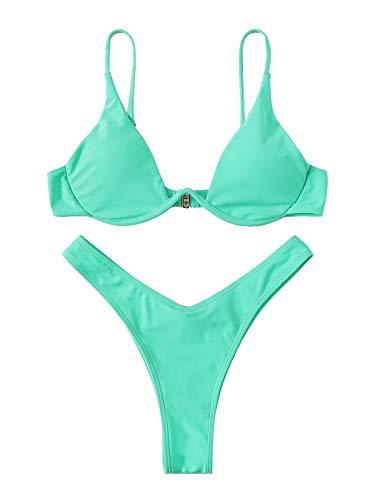 Verdusa Women's Sexy Triangle Bathing Two Pieces Swimsuit Bikini Set Turquoise L