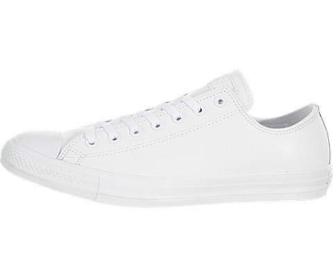 - Converse Unisex Chuck Taylor All Star Ox Low Top Classic White Leather Sneakers - 9 F(M) UK