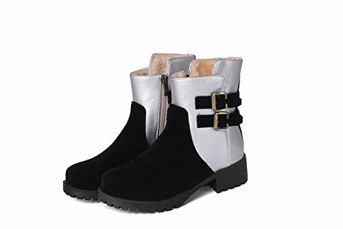 Carolbar Femme Zip Multi-boucle Confort Chaud Couleurs Assorties Bottes De Neige Noir