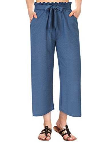 - GlorySunshine Women's Elastic Waist Solid Palazzo Casual Wide Leg Pants with Pockets (M, Navy-Bowknot)