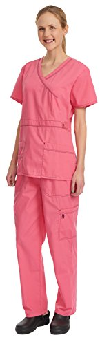 Denice Women's Scrub Sets / Utility Trim / Multiple Pockets / Medical Scrubs 1056 (2X-Large, Carnation/Navy) (Scrub Sets Plus Size Women)