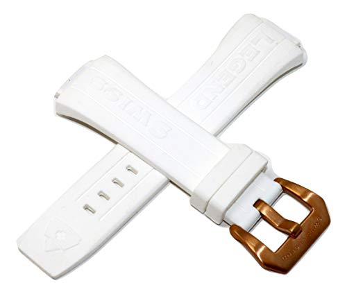(Swiss Legend 28MM White Silicone Watch Strap Rose Gold Stainless Buckle Fits 44mm Trimix Diver Watch)