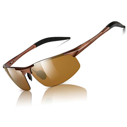 aisswzber Mens Sports Polarized Sunglasses Driving Metal Frame UV Protection Sunglasses for Men - Sunglasses Polarized Golf