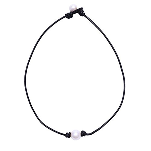 Myhouse Single Handmade Freshwater Pearl Choker Necklace on Black Cord for Women (Pearl Freshwater Best)