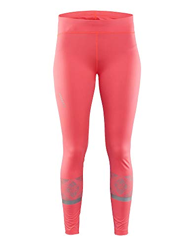 Craft Sportswear Women's Brilliant 2.0 High Visibility Reflective Running and Training Fitness Workout Light Tights, Shock, Large by Craft Sportswear (Image #3)