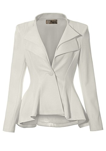 Women Double Notch Lapel Office Blazer JK43864 1073T Ivory 3X (Ivory Coat)