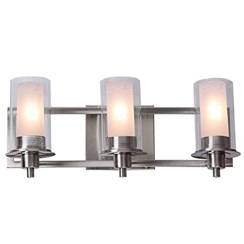 (Tangkula Bathroom Vanity Light, 3-Led Bulbs Brushed Nickel Vanity Fixture Bathroom Wall Sconces Lighting Lamp 20.5