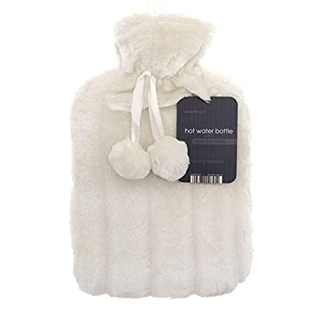 Large 2L Natural Rubber Hot Water Bottle with Warm Faux Fur Fluffy Pom Pom Cover (Pearl Silver) BF