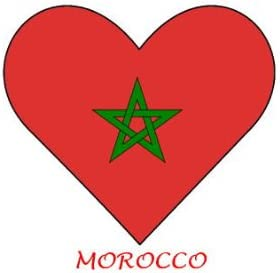 Marruecos - en forma de corazón de la bandera de - Lote de 6 hierro-en transferencias para Blanco/luz de algodón: Amazon.es: Hogar