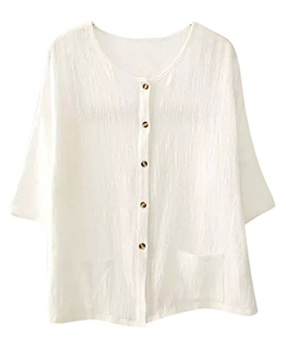 ASHER FASHION Women's Blouses Button Down Loose Casual Solid Linen Top