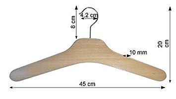roh 5 St Garderobenb/ügel aus Buchenholz Kleiderb/ügel aus Holz unbehandelt