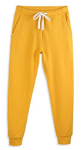 HARBETH Men's Casual Fleece Jogger Sweatpants Cotton Active Elastic Pocket Pants Apricot Gold XL