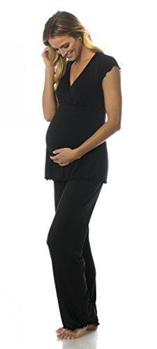Majamas Genna PJ - Women's Short Sleeve v-Neck Maternity Pajama Set with Nursing Access for Breastfeeding - Made in The (Majamas New Nursing Clothes)