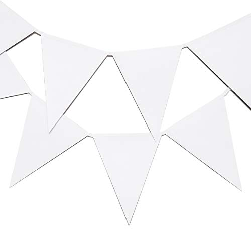 Bright Creations White Paper Pennant Bunting Banner with 12 Flags for DIY Crafts, 11 Feet]()