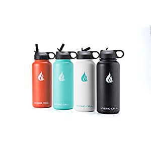 Hydro Cell Stainless Steel Water Bottle with Straw and Wide Mouth Lids (Black 32oz) - Keeps Liquids Perfectly Hot or Cold with Double Wall Vacuum Insulated Sweat Proof Sport Design