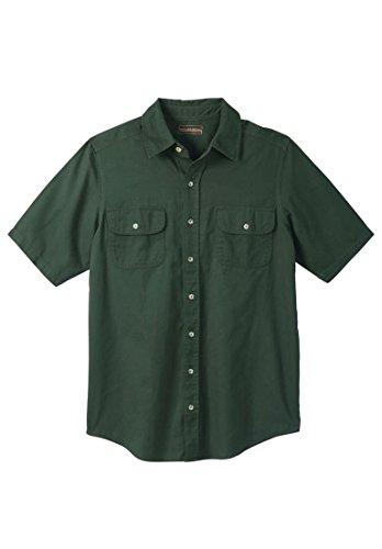 Mens Short Sleeve 2 Button (Boulder Creek Men's Big & Tall Short-Sleeve Renegade Shirt, Forest Green)
