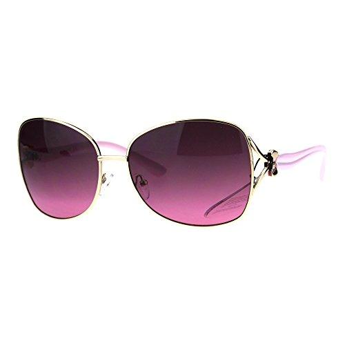 Womens Oversize Butterfly Designer Fashion Bow Jewel Trim Sunglasses Gold - Sunglasses Bow
