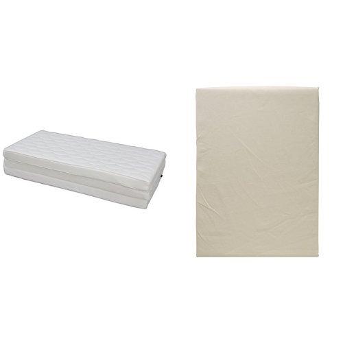 【セット買い】アイリスオーヤマ エアリーマットレス ハイグレード 厚み9cm ダブル ホワイト HG90-D + ボックスシーツ日本製 綿100% ブロード生地 通気性 ダブル バニラベージュ B0751KT6FD