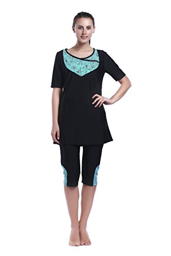 MZ Garment Women Muslim Swimwear Full Coverage Islamic Modest Swimsuit 3 Pieces Full Body with Hijab Sun Protection, Ms021, Medium by MZ Garment