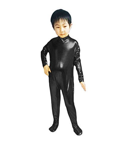 Dancewear Unitard (WOLF UNITARD Kids Shiny Metallic Unitard Dancewear Bodysuit Medium Black)