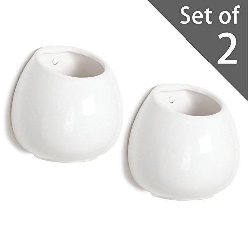 Porcelain Vase Set (4 Inch Small Wall Mounted Ceramic Flower Plant Vase, Succulent Planter Pots, Set of 2, White)