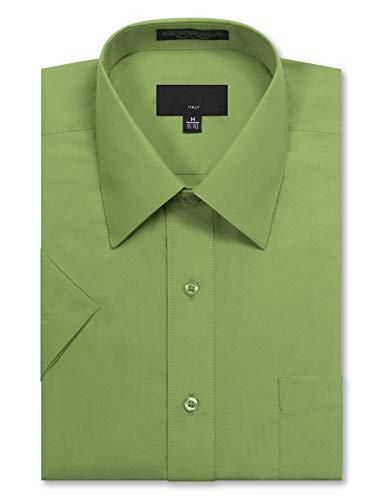 JD Apparel Men's Regular Fit Short Sleeve Dress Shirts 21-21.5N 5XL Apple Green